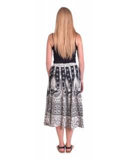Dlouhá sukně, černo-bílá, potisk pávů a orientálních vzorů