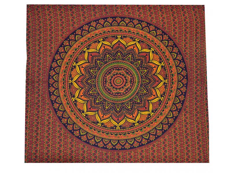 Přehoz na postel, pestrobarevná mandala, 230x202cm, modro-oranžový