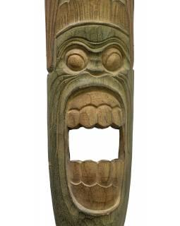 Domorodá maska z balzového dřeva, zelená patina, 22x149cm
