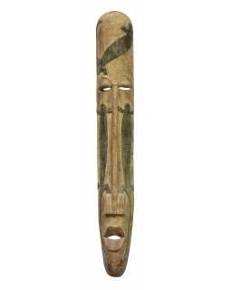 Domorodá maska z balzového dřeva, zelená patina, 22x152cm