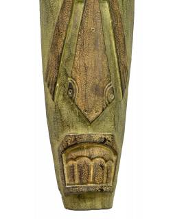 Domorodá maska z balzového dřeva, zelená patina, 22x155cm