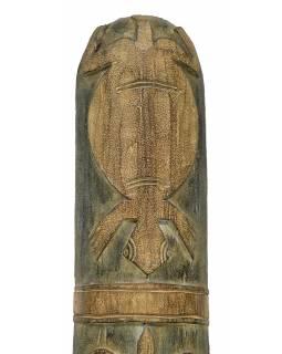 Domorodá maska z balzového dřeva, zelená patina, 22x153cm