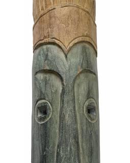 Domorodá maska z balzového dřeva, zelená patina, 22x146cm