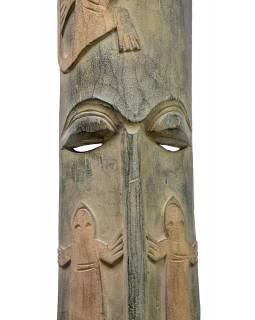 Domorodá maska z balzového dřeva, zelená patina, 22x151cm