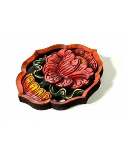 Astamangal symbol, lotosový květ, malované vyřezávané dřevo, 20cm