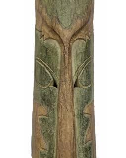 Domorodá maska z balzového dřeva, zelená patina, 202cm