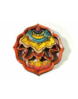 Astamangal symbol, slunečník, malované vyřezávané dřevo, 20cm
