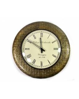 Velké nástěnné hodiny, tepaný antik zdobený mosazný plech, prům. 47cm