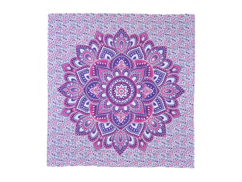 Přehoz na postel, růžovo-fialový tisk, mandala, 220x230cm