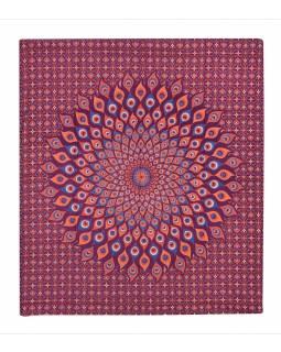 Přehoz na postel, pestrobarevná paví mandala, 230x202cm, vínovo-oranžový