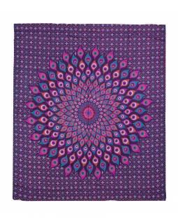 Přehoz na postel, pestrobarevná paví mandala, 230x202cm, fialovo-růžový