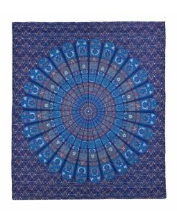 Přehoz na postel, pestrobarevná mandala, 230x202cm, květy, modro-tyrkysový