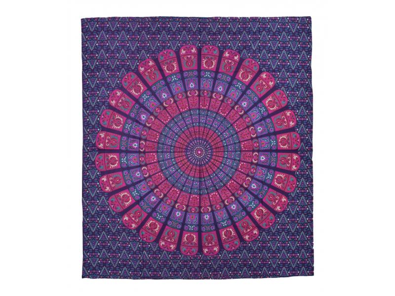 Přehoz na postel, pestrobarevná mandala, 230x202cm, květy, fialovo-růžový