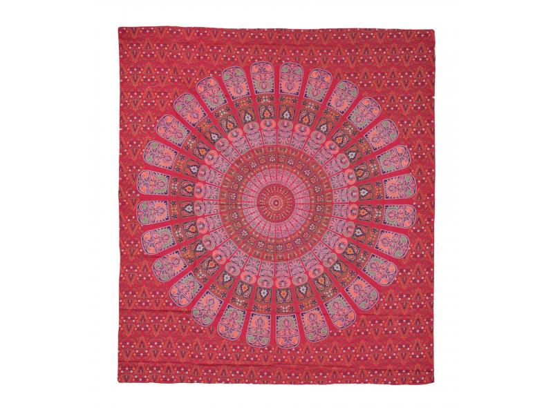 Přehoz na postel, pestrobarevná mandala, 230x202cm, květy, červeno-modrý
