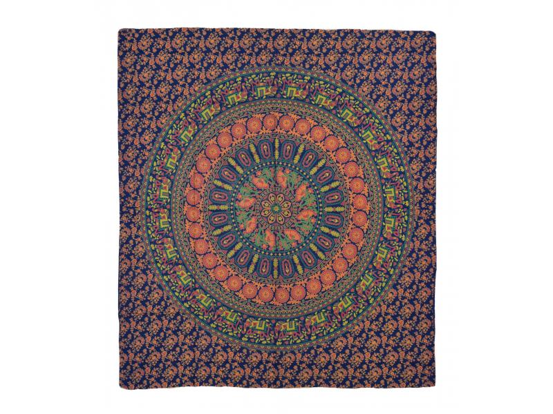 Přehoz na postel, barevná mandala, 230x202cm, květy a sloni, modro-oranžový