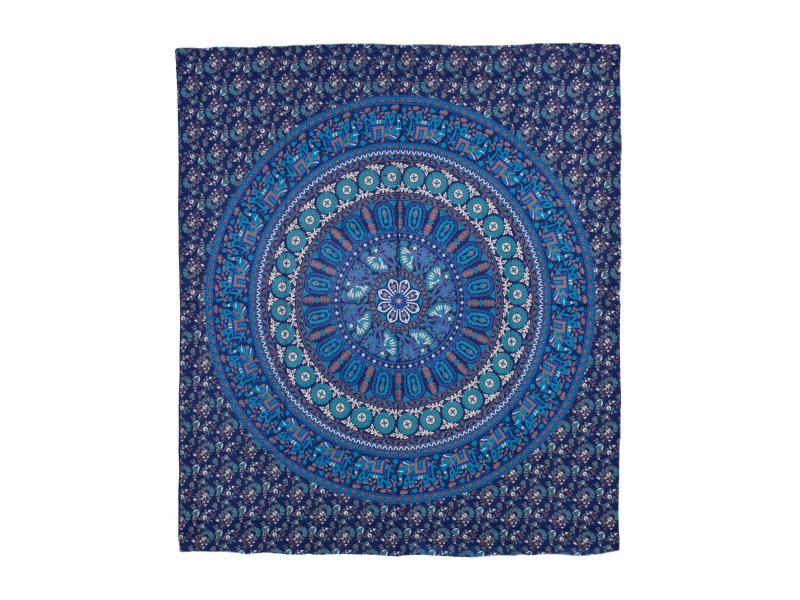Přehoz na postel, barevná mandala, 230x202cm, květy a sloni, modro-tyrkysový