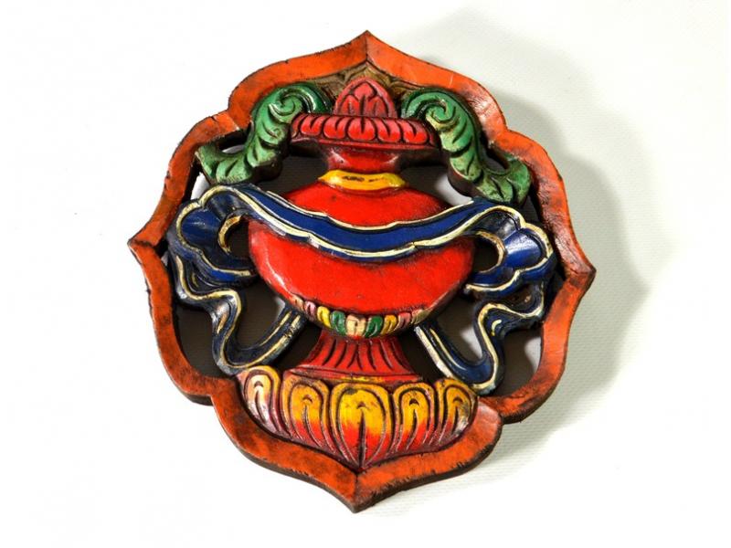 Astamangal symbol, váza, malované vyřezávané dřevo, 20cm