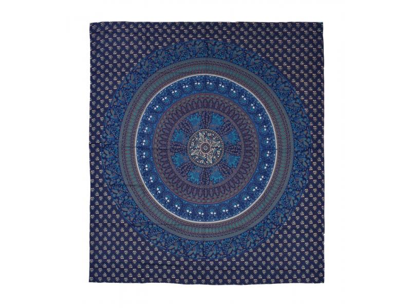 Přehoz na postel, mandala, 230x202cm, sloni a pávy, modro-tyrkysový