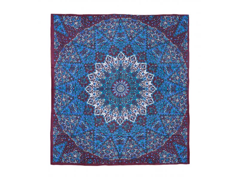 Přehoz na postel, hnědo-modrý, Mandala a sloni 220x230cm
