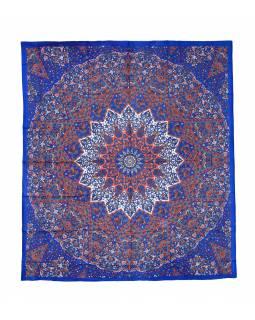 Přehoz na postel, oranžovo-modrý, Mandala a sloni 220x230cm