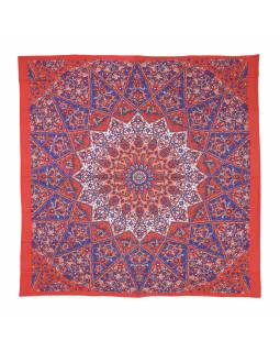 Přehoz na postel, červeno-modrý, Mandala a sloni 220x230cm