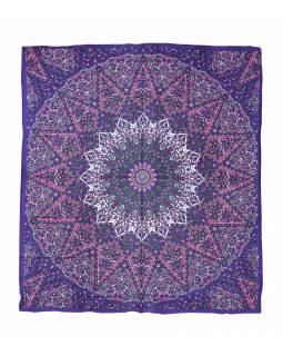 Přehoz na postel, fialovo-růžový, Mandala a sloni 220x230cm