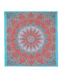 Přehoz na postel, zeleno-oranžový, Mandala a sloni 220x230cm