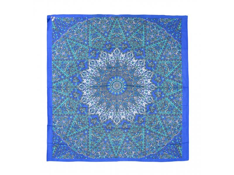 Přehoz na postel, modro-tyrkysový, Mandala a sloni 220x230cm