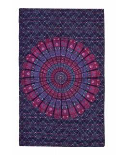 """Přehoz na postel """"Barmery round"""" květiny, fialovo-růžový 130x210cm"""