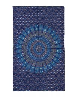 """Přehoz na postel """"Barmery round"""" květiny, zeleno-modrý 130x210cm"""