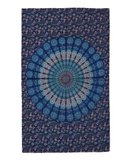 """Přehoz na postel """"Barmery round"""" paví pera, modro-zelený 130x210cm"""