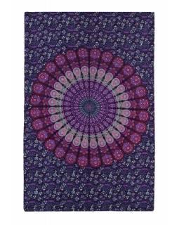 """Přehoz na postel """"Barmery round"""" paví pera, fialovo-růžový 130x210cm"""