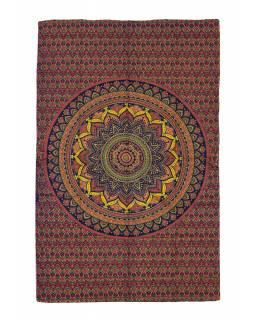 Přehoz na postel, květinová mandala, modro-červený 130x210cm
