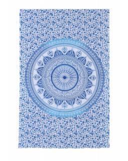Přehoz na postel, bílo-modrý, Mandala 200x130cm