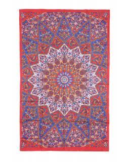 Přehoz na postel, modro-červený, Mandala a sloni 200x130cm
