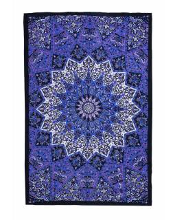 Přehoz na postel, modro-fialový, Mandala a sloni 200x130cm