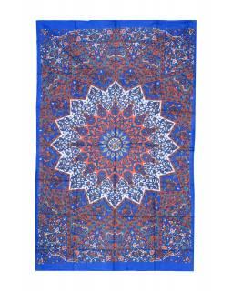 Přehoz na postel, modro-oranžový, Mandala a sloni 200x130cm
