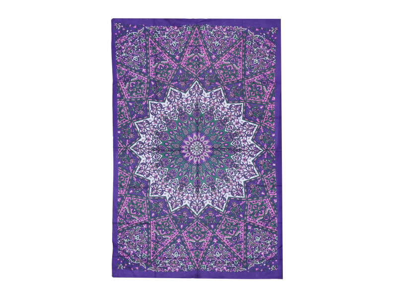 Přehoz na postel, fialovo-růžový, Mandala a sloni 200x130cm