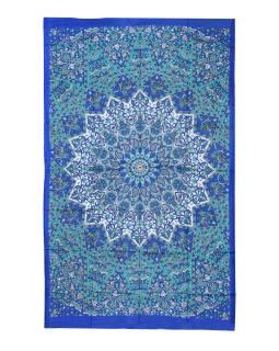 Přehoz na postel, modro-zelený, Mandala a sloni 200x130cm