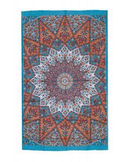 Přehoz na postel, zelený-oranžový, Mandala a sloni 200x130cm