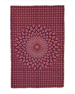 Přehoz na postel, vínovo-oranžový, Mandala paví pera 200x130cm