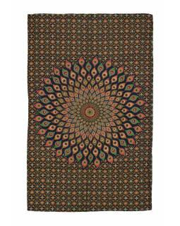 Přehoz na postel, zeleno-modrý, Mandala paví pera 200x130cm