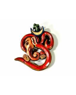 Ganesh Óm, ručně mal,ovaný dřevěný, 14x15,5cm