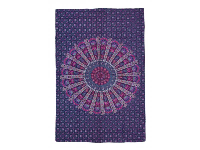 Přehoz na postel, fialovo-růžový, Mandala, sloni a velbloudi 200x130cm