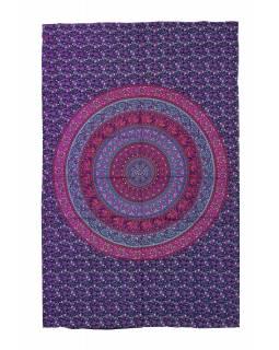 Přehoz na postel, fialovo-růžový, Mandala, sloni a květiny 200x130cm
