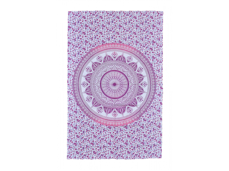 Přehoz na postel, bílo-růžový, Mandala 200x130cm