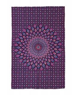 Přehoz na postel, růžovo-fialový, Mandala paví pera 200x130cm
