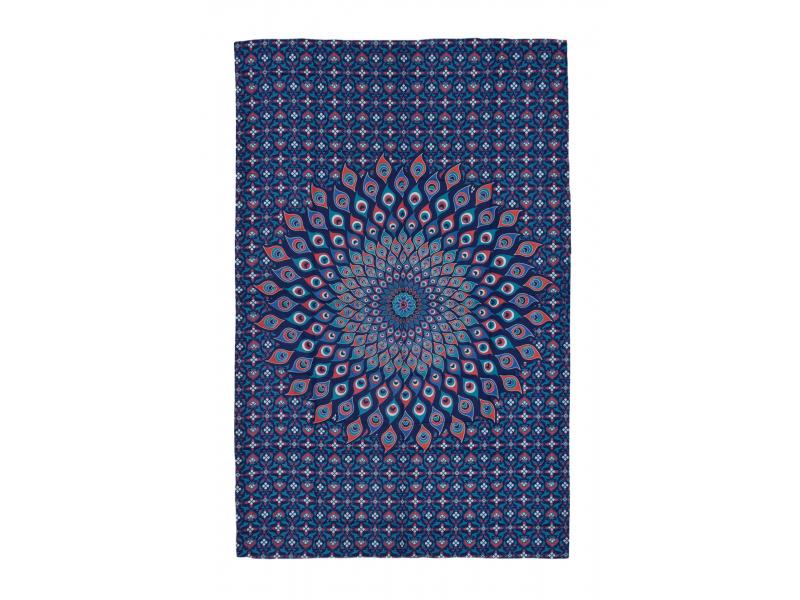 Přehoz na postel, červeno-modrý, Mandala paví pera 200x130cm
