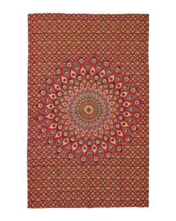 Přehoz na postel, červeno-žlutý, Mandala paví pera 200x130cm