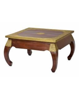 Konferenční stolek z palisandru, zdobený mosazným kováním, 76x76x45cm